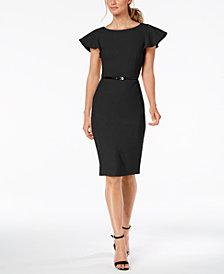 Calvin Klein Belted Ruffle-Sleeve Sheath Dress