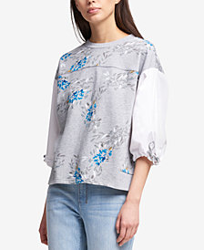 DKNY Puff-Sleeve Printed Sweatshirt, Created for Macy's