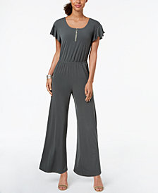NY Collection Petite Zip-Neck Jumpsuit