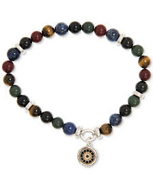 R.T. James Men's Multi-Gemstone (8mm) Beaded Bracelet in Silver-Tone & Gold-Tone