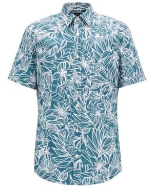 Boss Men's Regular/Classic-Fit Tropical-Print Cotton Shirt