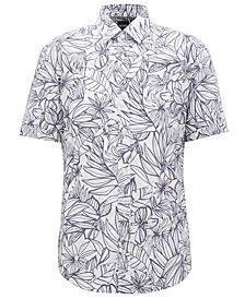 BOSS Men's Slim-Fit Floral-Print Cotton Shirt