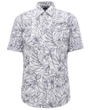 Boss Men's Slim-Fit Floral-Print Cotton Shirt