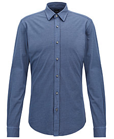 BOSS Men's Slim-Fit Micro-Print Cotton Shirt