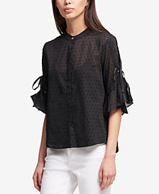 DKNY Ruffled-Sleeve Blouse, Created for Macy's