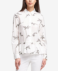 DKNY Embroidered Peplum Button-Up Shirt, Created for Macy's