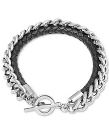 Men's Braided Leather Layered Link Bracelet in Stainless Steel