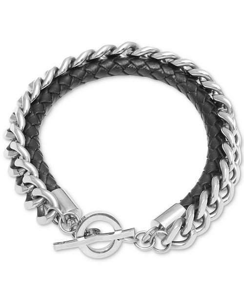 Macy's Men's Braided Leather Layered Link Bracelet in Stainless Steel