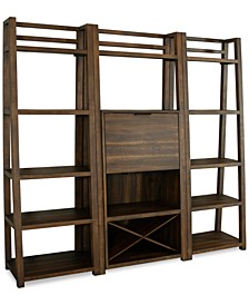 Ridgeway 3-Pc. Bar Wall Set (Bar Cabinet & 2 Leaning Bookcases)