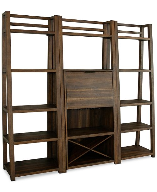 Furniture Ridgeway 3 Pc Bar Wall Set Bar Cabinet 2 Leaning
