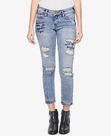 Silver Jeans Co. Elyse Embroidered Slim Cropped Jeans