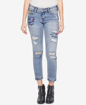 Silver Jeans Co. Elyse Embroidered Slim Cropped Jeans 5741125