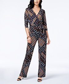 NY Collection Petite Surplice Tie-Waist Jumpsuit