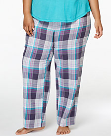 Jenni by Jennifer Moore Plus Size Printed Cotton Pajama Pants, Created for Macy's