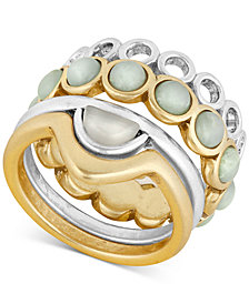 Lucky Brand Two-Tone 4-Pc. Set Stone & Patterned Stacking Rings