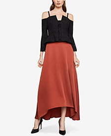 BCBGMAXAZRIA Cold-Shoulder Lace-Up Top