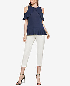 BCBGMAXAZRIA Cold-Shoulder Ruffle Overlay Top