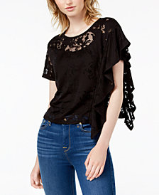 Bar III Burnout Poncho-Sleeve T-Shirt, Created for Macy's