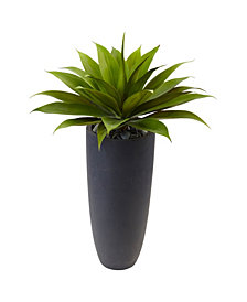 """Nearly Natural 38"""" Agave Artificial Plant in Gray Cylinder Planter"""