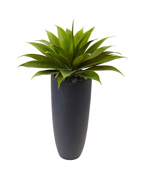 "Nearly Natural 38"" Agave Artificial Plant in Gray Cylinder Planter"