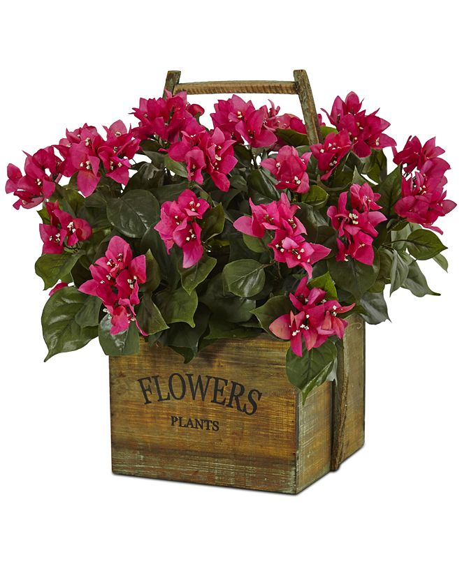 Nearly Natural Bougainvillea Flowering Artificial Plant in Rustic Wood Planter