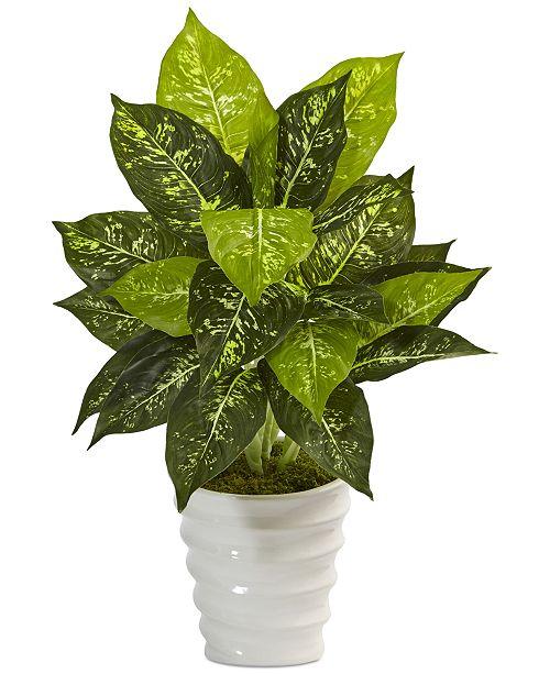 Nearly Natural Dieffenbachia Artificial Plant in Swirl Ceramic Planter