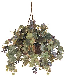 Nearly Natural Grape Leaf Artificial Plant Hanging Basket