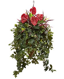 Nearly Natural Mixed Anthurium Artificial Plant Hanging Basket