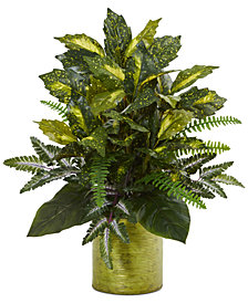 Nearly Natural Mixed Greens Artificial Plants in Green Tin Planter