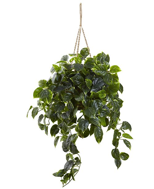 Nearly Natural Pothos UV-Resistant Indoor/Outdoor Artificial Plant Hanging Basket