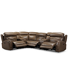 Winterton 6-Pc. Leather Sectional Sofa With 3 Power Recliners, Power Headrests, Lumbar, 2 Consoles & USB Power Outlet