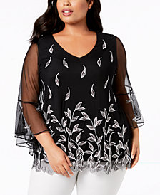Alfani Plus Size Embroidered Mesh Top, Created for Macy's