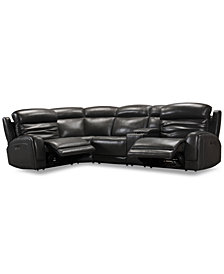 Winterton 5-Pc. Leather Sectional Sofa With 2 Power Recliners, Power Headrests, Lumbar, Console & USB Power Outlet
