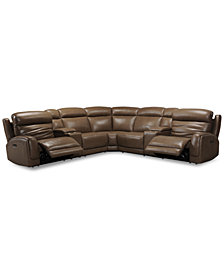 Winterton 7-Pc. Leather Sectional Sofa With 2 Power Recliners, Power Headrests, Lumbar, 2 Consoles And USB Power Outlet