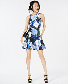 Speechless Juniors' Floral-Print Cutout Dress