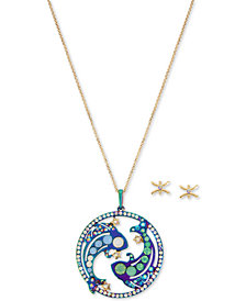 "Betsey Johnson Two-Tone Multi-Stone Pisces Zodiac Pendant Necklace & Stud Earrings Set, 21-1/2"" + 3"" extender"