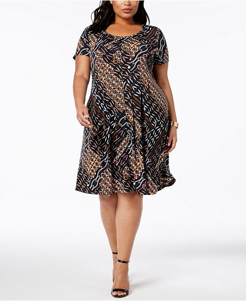 Ny Collection Plus Petite Plus Size Printed Fit Flare Dress