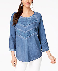 Style & Co Petite Lace-Trim Sweatshirt, Created for Macy's