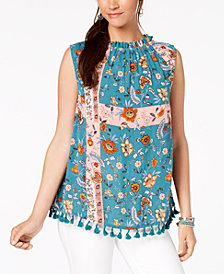 Style & Co Printed Tassel-Hem Top, Created for Macy's