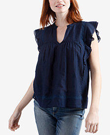 Lucky Brand Pintucked Ruffle Top