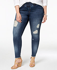 I.N.C. Plus Size Cotton Ripped Skinny Jeans, Created for Macy's