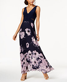 XSCAPE Pleated Floral-Print Gown