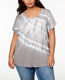 Style & Co Plus Size Tie-Dyed Top, Created for Macy's