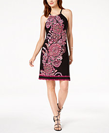 I.N.C. Petite Printed Hardware-Neck Halter Dress, Created for Macy's