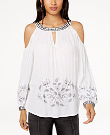 I.N.C. Embellished Embroidered Cold-Shoulder Top, Created for Macy's