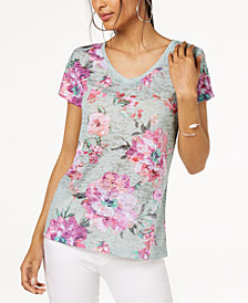 I.N.C. Floral-Print Sequin-Embellished T-Shirt, Created for Macy's