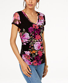 I.N.C. Petite Floral-Print Ruched Top, Created for Macy's