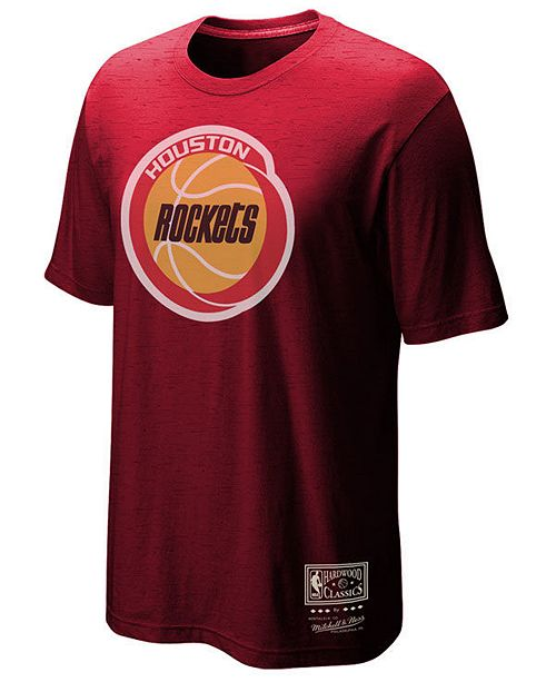 Mitchell & Ness Men's Houston Rockets Hardwood Classics Logo Tri-Blend T-Shirt