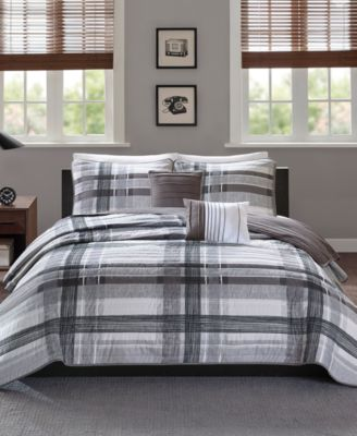 Rudy Reversible 5-Pc. Plaid Quilted Full/Queen Coverlet Set