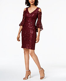 Nightway Sequined Lace Bell-Sleeve Dress